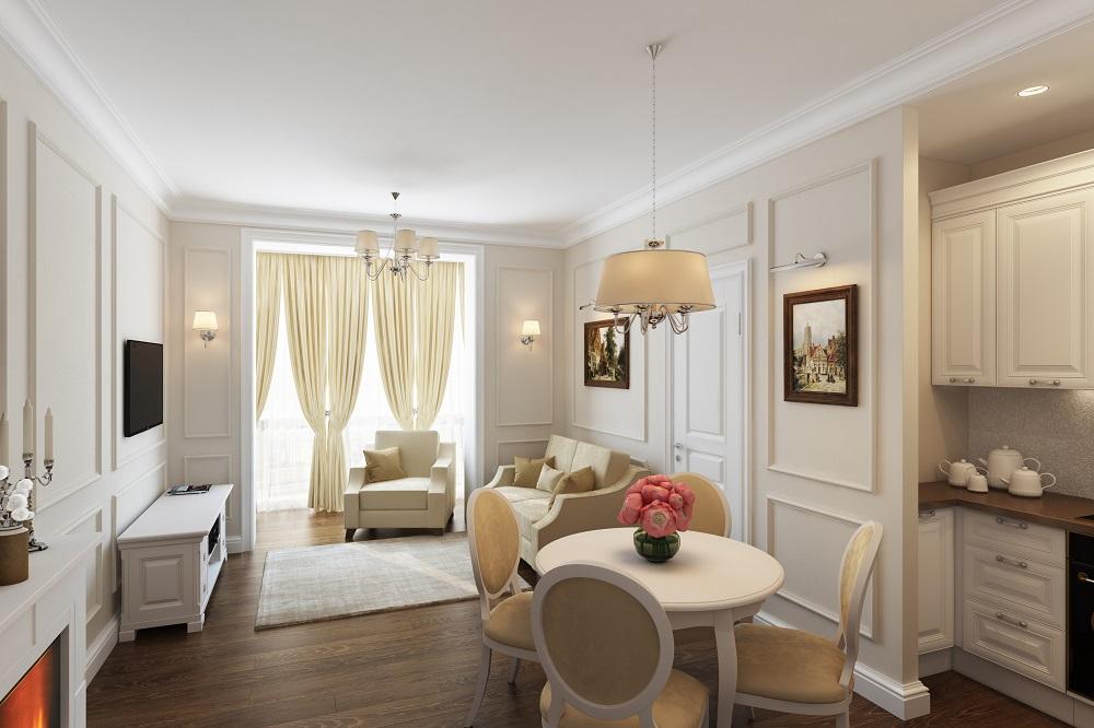 две недели классический интерьер квартиры в светлых тонах тем, как