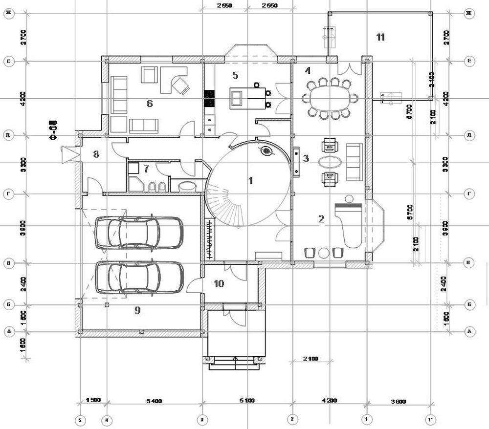 Благодаря совету Маи - разместить в зоне гостиной рояль, родилась такая финальная планировка первого этажа. Спасибо ей большое за прекрасную идею.