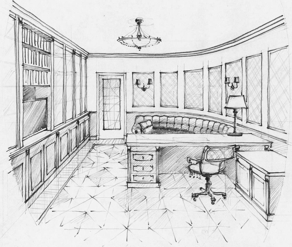 Эскиз кабинета и детской