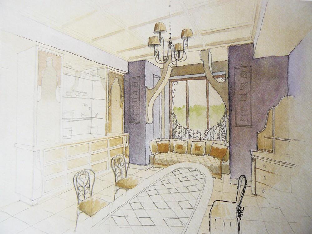 Дом в поселке Довиль. Предпроектное предложение. Гостиная