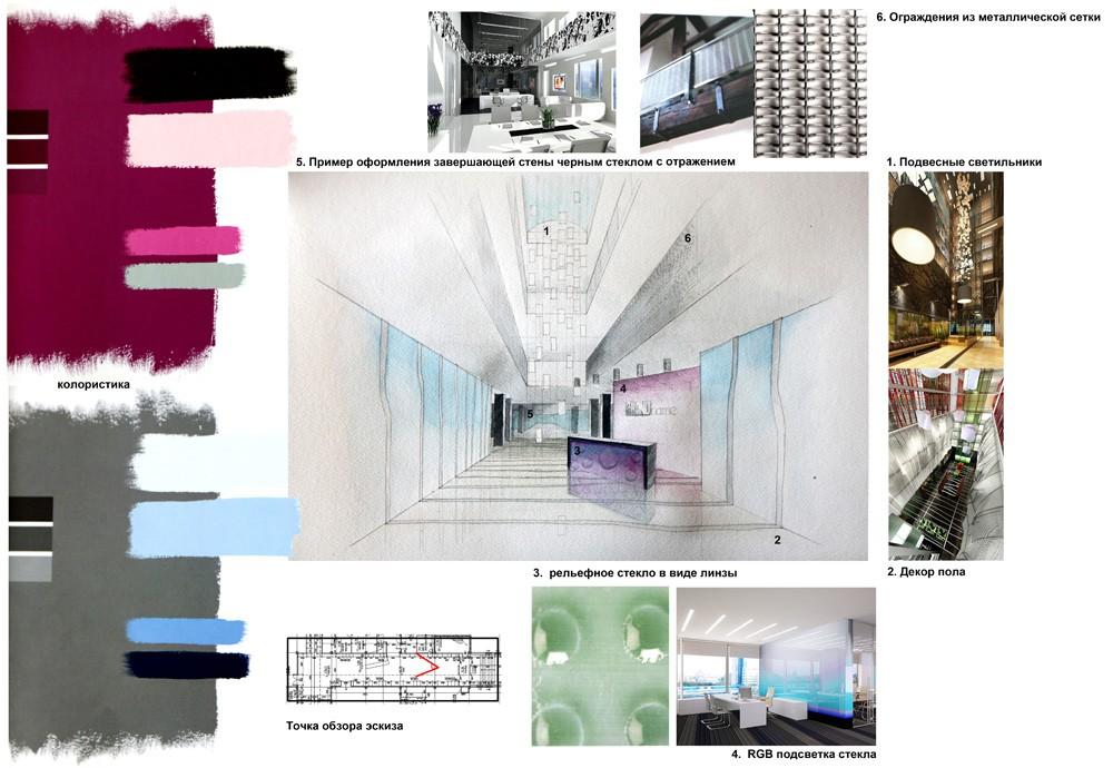Концепт цветового оформления и геометрии бизнес-центра