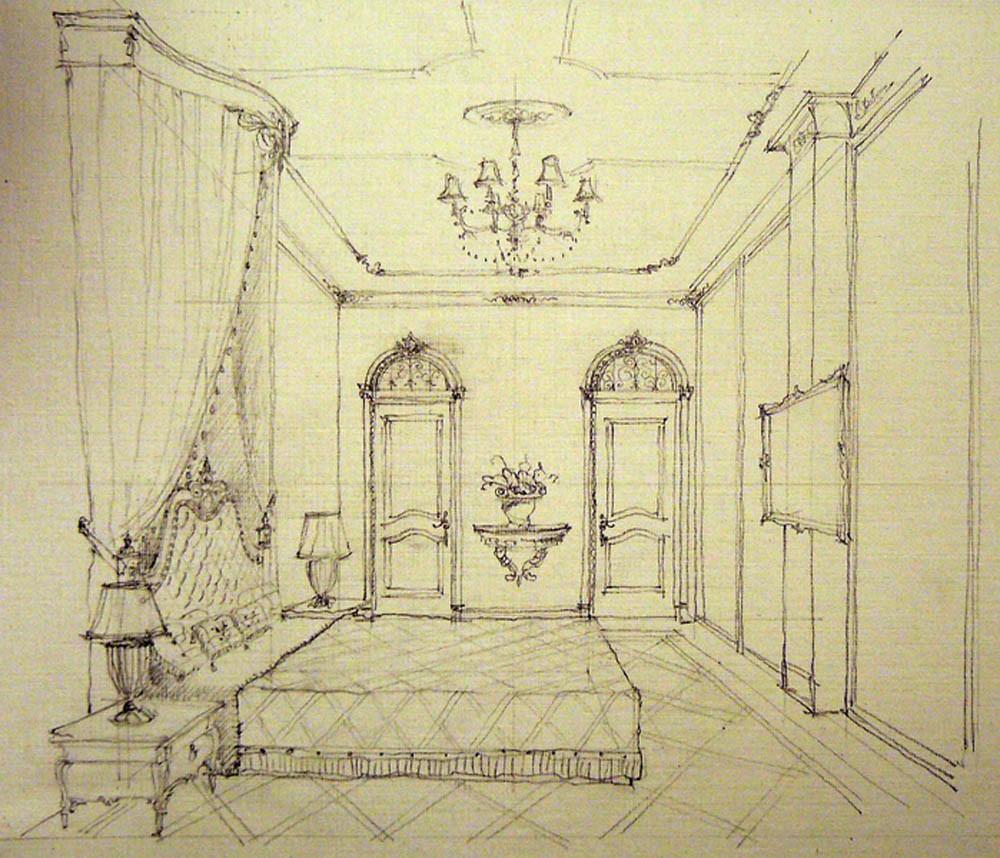 Эскиз классической спальни