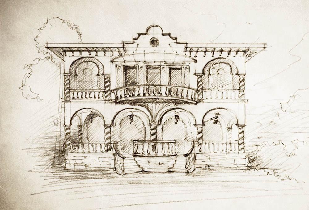 Требовалась реконструкция — пристроить новый объем к существующему зданию. Первый эскиз — ищем стиль. С элементами восточного колорита