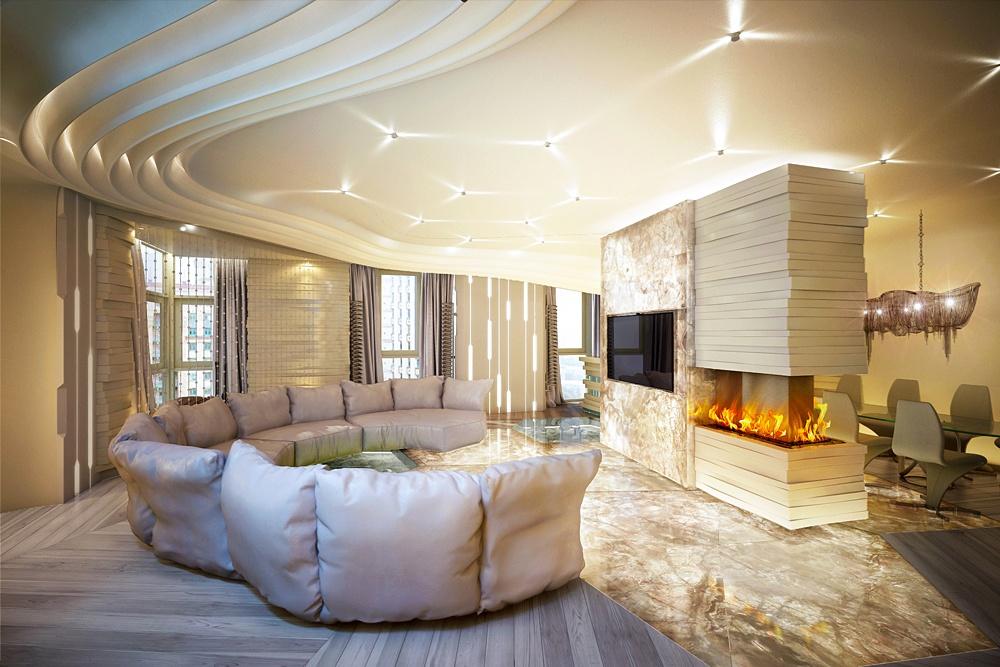 Футуристическая квартира в Алых Парусах. Гостиная — вид на камин и телевизор, расположенные на несущей колонне.