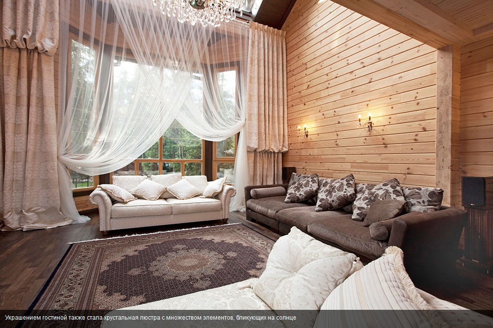 Деревянный интерьер загородного дома