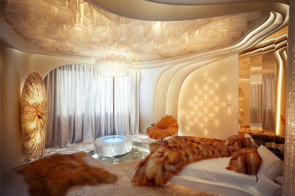 Футуристическая квартира в Алых Парусах. Главная спальня.