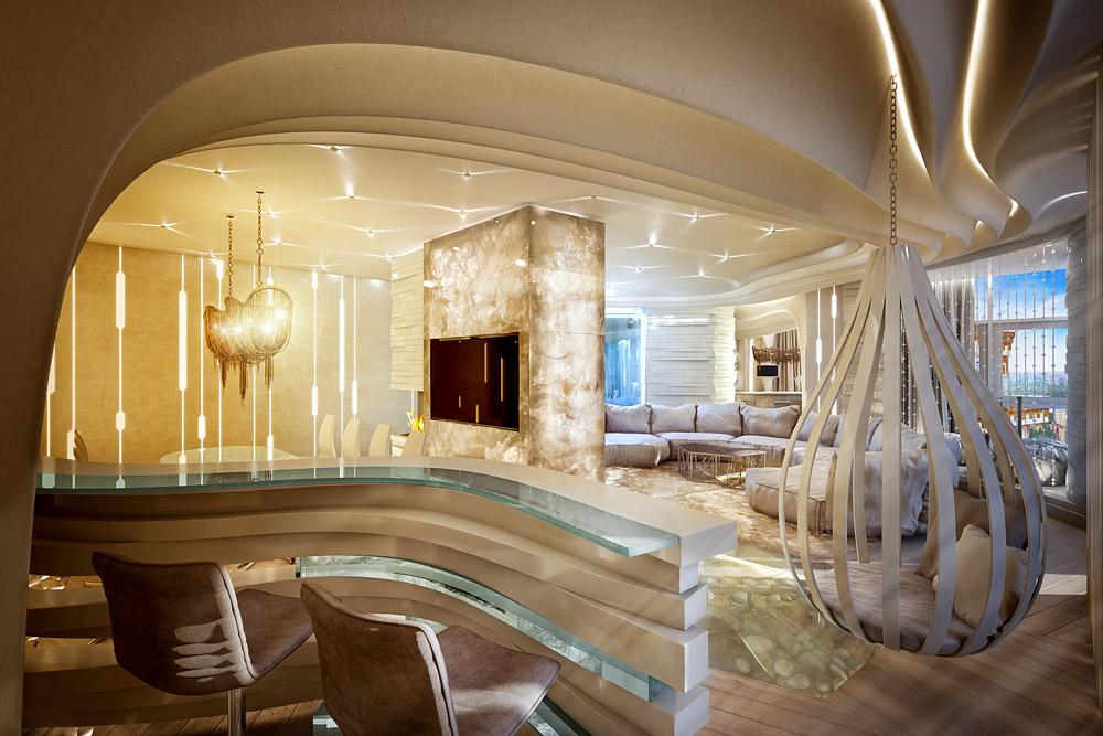 Футуристическая квартира в Алых Парусах. Бар с панорамным видом на всю гостиную.