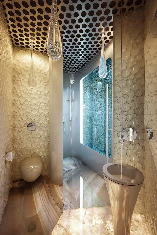 Футуристическая квартира в Алых Парусах. Санузел. Кран уходит в потолок, открытый душ-ракушка, светильники-капли. От удивленных взоров гостей купающегося отделяет колотое стекло внутри аквариума с медузами. Гостевой санузел.