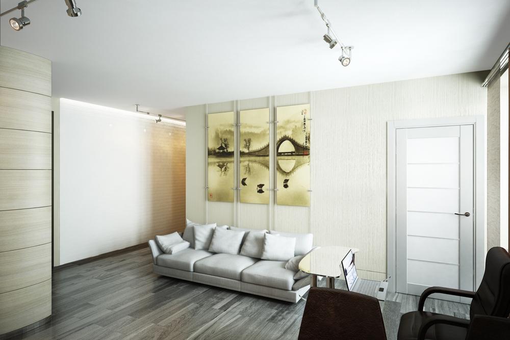 Симбиоз экологической концепции и минимализма, а также увлечение хозяина квартиры Востоком, нашел отражение и в отделке помещения. В качестве напольного покрытия была выбрана деревянная паркетная доска темного цвета. Стены в столовой зоне оформлены деревянными навесными панелями, скрывающими коммуникации, в коридоре и кабинете – фактурной отделкой, имитирующей белый камень и папирусную бумагу. Стену в спальне у изголовья кровати решили отделать бамбуком