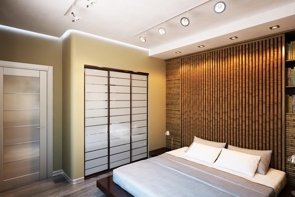 Акценты в проекте сделаны на насыщенный цвет пола и текстильной отделки, а также на элементы декоративного оформления стен – картины японской тематики